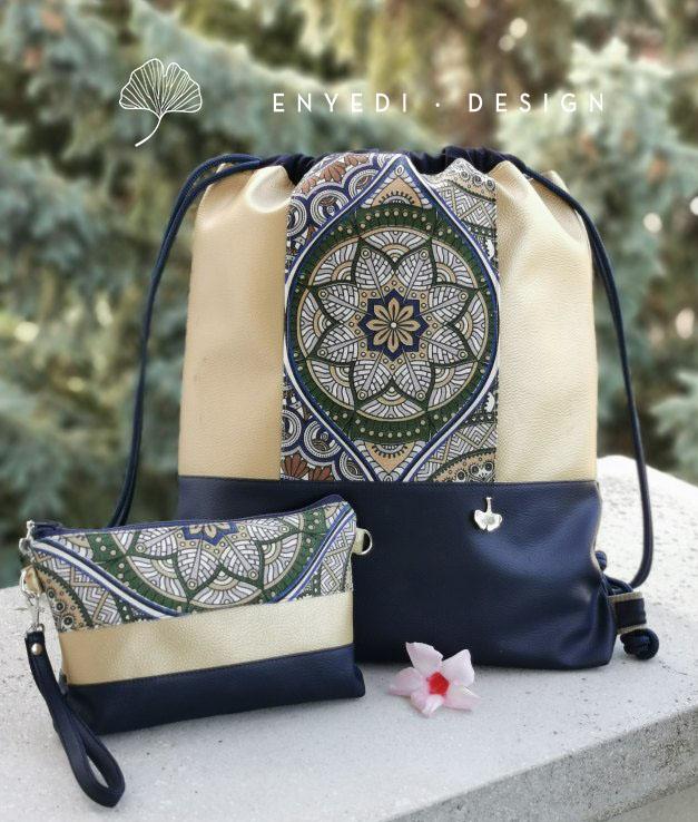 Mandalás arany-kék hátizsák