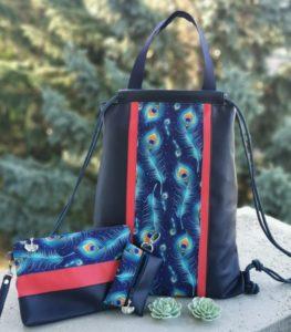 Pávatollas kék hátizsák szett