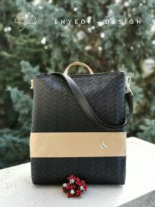 Fekete fonott mintás 2in1 laptop táska1