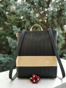 Fekete fonott mintás 2in1 laptop táska3