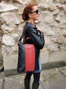 Vörös kígyóbőr 2in1 laptop táska