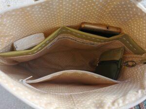 Zöld mintás 2in1 táska belseje