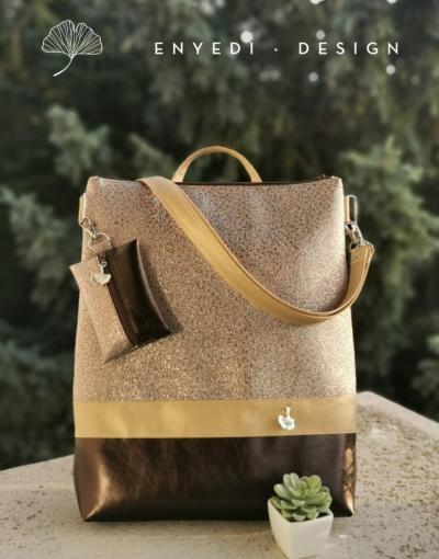 Csillogó barna 2in1 Laptop táska