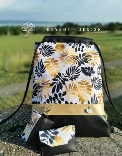 Arany-fekete leveles hátizsák 2