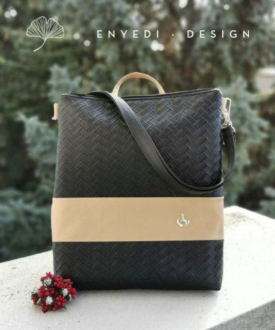 Fekete fonott mintás 2in1 laptop táska