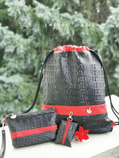 Fekete krokodil mintás hátizsák