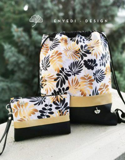 Arany-fekete leveles hátizsák