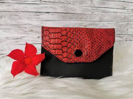 Vörös-fekete boríték stílusú kártyatartó tárca