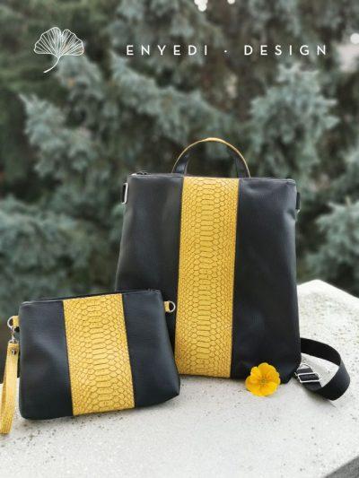 Mustársárga kígyóbőr 2in1 táska