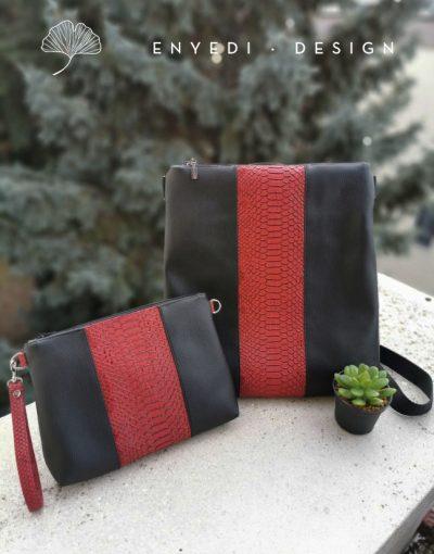 Vörös kígyóbőr 2in1 táska