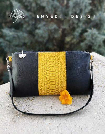Sárga kígyóbőr alkalmi táska