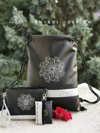 Ezüst mandala mintás fekete hátizsák szett