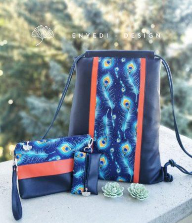 Pávatollas kék hátizsák