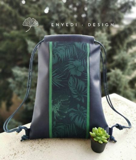 Zöld leveles kék hátizsák