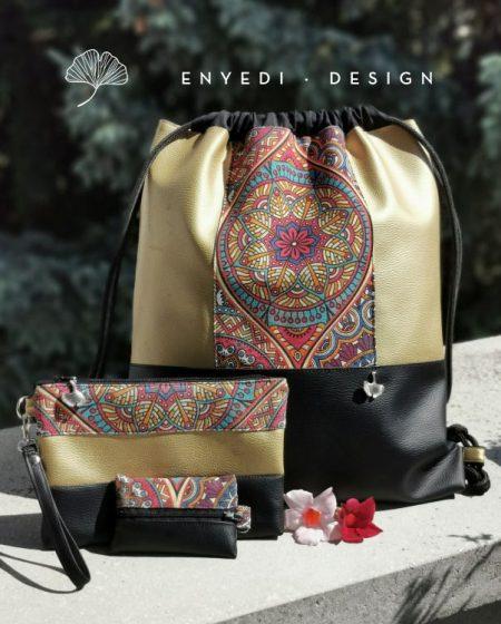 Mandalás arany-fekete hátizsák